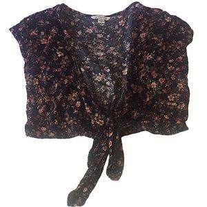 American Eagle Black Pink Floral Wrap Crop Top